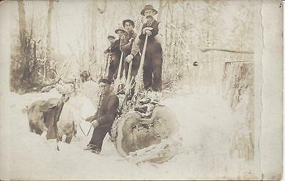 Real Photo, Logging Photo, 4 Men Standing On Downed Tree, Another Holding Reins