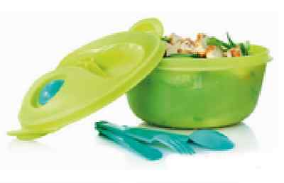 TUPPERWARE Crystalwave Micrawave Reheatable Food On The Go Container 1.5L GREEN