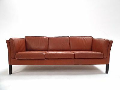Vintage Danish Stouby Tan Brown Leather 3 Seater Sofa Midcentury