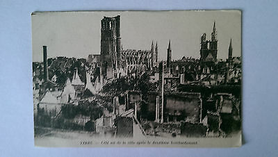 WW1 Ypres Belgium B&W Postcard After the 2nd bombardment