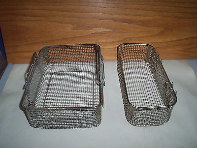 2 Vintage Metal Industrial Wire Mesh Storage Crate OR Parts Drain Baskets Boxes