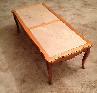 Mid Century French Provincial Walnut Low Coffee Table With Stone Inlay