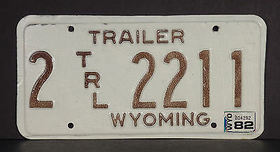 1982 Wyoming Trailer License Plate #2 2211