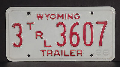 1988 Wyoming Trailer License Plate #3 3607