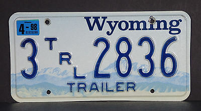1998 Wyoming Trailer License Plate #3 2836