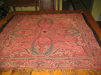 Antique Paisley Hand Woven Shawl Table Cover