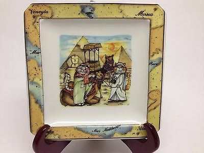 "Tourist Cats Plate - Cairo - Made in Italy - 6.5"" Square"