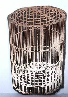 Vintage letterpress Printing Plate -Wire Basket or cage w/top Copper Graphic