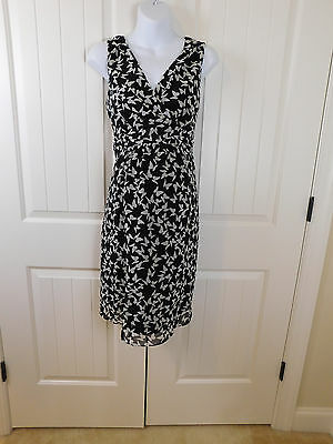 Motherhood maternity L Large black and white butterfly print career church dress