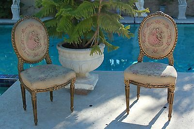 Pair of Vtg French Louis XVI Styl Carved Wood Gold Gilt  Occasional Accent Chair