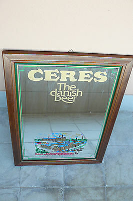 Birra CERES specchio pubblicitario grande originale bar vintage  the danish beer