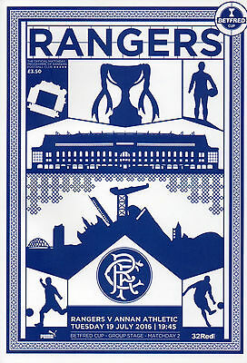 Rangers v Annan Athletic Betfred (league cup) programme 19 July 2016