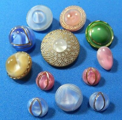 Stunning LOT MOONGLOW Glass Vintage Buttons Mixed Colors- Cars Eye Blue & Pink