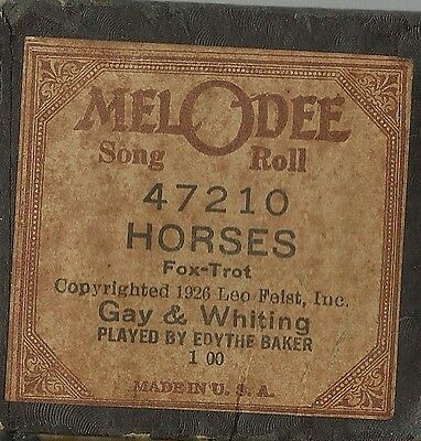 Horses, played by Edythe Baker, MelODee 47210 Piano Roll Original