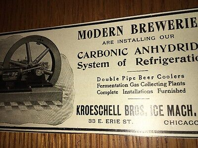 Kroeschell Ice Machine For Brewery 1907 Beer Ad Brewing Chicago
