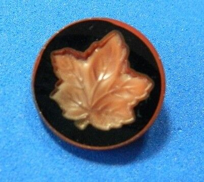 Red Satin Glass Vintage Button with LEAF Carved Design