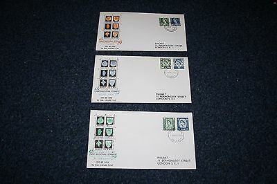 Set of 3 GB First Day Covers - Regional Wilding 9d & 1/6 Definitives - 1966