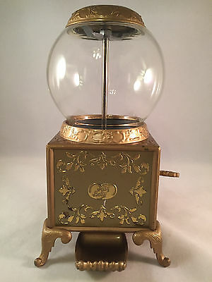 """Jelly Belly Candy Dispenser Gold 9"""" Glass Globe From 2007"""