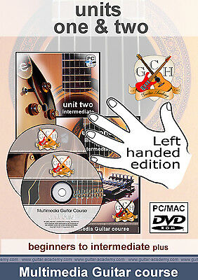 Master the Guitar, LEFT HANDED acoustic and electric lessons, Full 2 year course