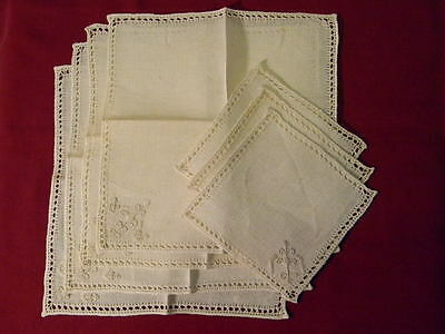 Vintage Lot of 4 Antique White Linen-Lace Embroidered  Napkins and 3 Coasters