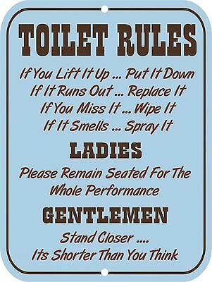 Retro Vintage Nostalgic Funny Toilet Restroom Bathroom Rules Metal Tin Sign 9x12
