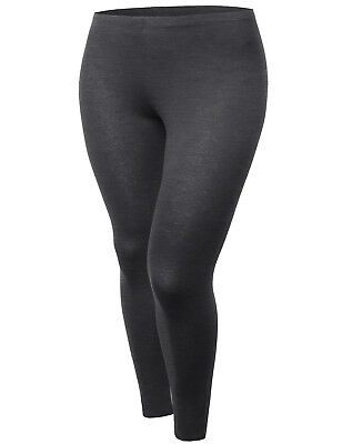 FashionOutfit Women's Basic Solid Cotton Stretch Full Length Leggings Plus Size