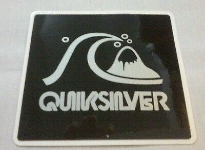 QUIKSILVER STICKER DECAL SILVER ON BLACK SURF WAVE LOGO 90mm x 100mm