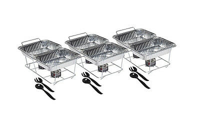 Catering Equipment Supplies Serving Trays Food Chafer Portable Warmer 24 Pc Set