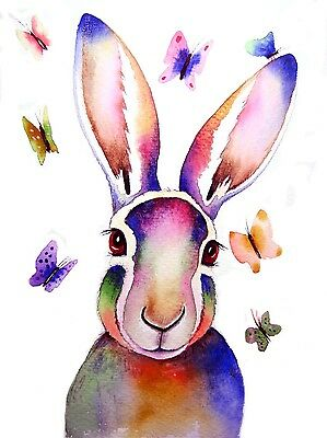 """*HARE AND BUTTERFLIES * New Signed  ART PRINT A4 9"""" x 12"""" by Maria Moss."""