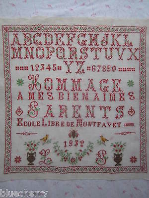 Antique FRENCH ABC SAMPLER Embroidery Patterns Lettering 1932 Provence 22.5x21.5