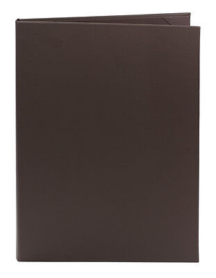 "(10pk) Brown Faux Leather Menu Covers, 2-panel, 8.5"" x 14"""