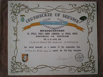 1965 US ARMY CERTIFICATE of SERVICE, 5th SPECIAL FORCES (AIRBORNE) to ANDERSON