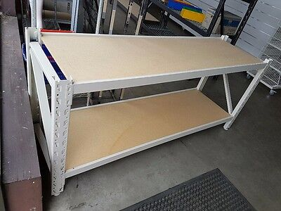 Beautiful White heavy duty work bench with particle board 2m x .6m x .9m WICKED!