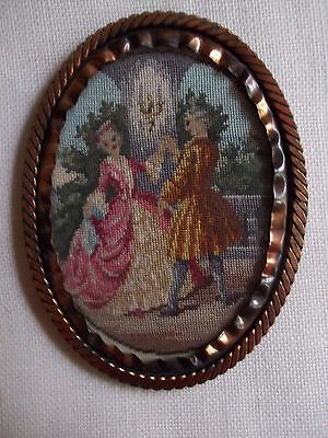 """Stunning Antique 5"""" Silk Petit Point Embroidery Framed Picture ~ Minuet Dance"""
