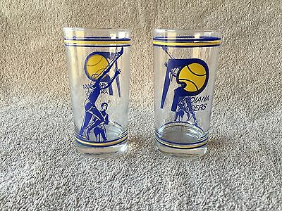"Vintage Glass Cup 4.5"" Advertising Indiana Pacers NBA Basketball RARE"