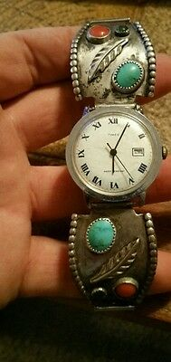 Dead Pawn Watch tips Sterling large Sleeping Turquoise Coral Navajo Roman timex