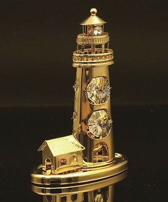 Authentic Swarovski Crystal Element Lighthouse Ornament Figurine 24K Gold Plated