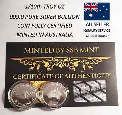 """1/10th Oz 99.9% Pure Silver Bullion Coin, """"Kangaroo"""" (Aust Series) 14 to Collect"""