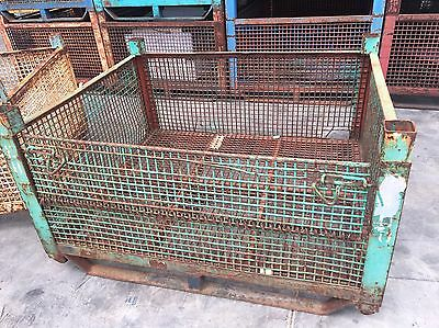 Stillage Heavy Duty Steel Mesh Stackable Shed Storage Solution Crate #b