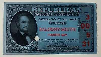 Republican National Convention Ticket 1952 Dwight D Eisenhower Fourth Day
