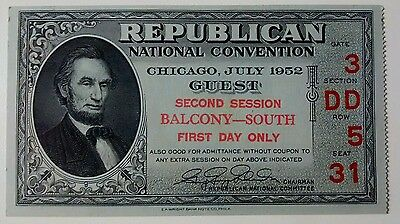 Republican National Convention Ticket 1952 Dwight D Eisenhower First Day