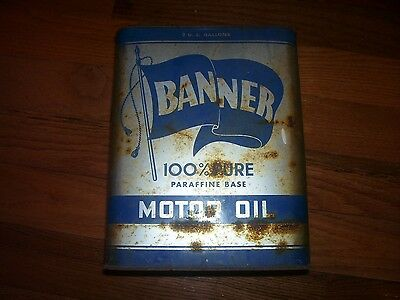 One Vintage 2 Gallon Banner Motor Oil Can