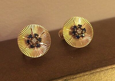 Vintage 14K Solid Yellow Gold Diamond And Sapphire Art Deco Screw Back Earrings