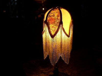Boudoir Table Lamp Country French Or Victorian Style Long Glass Beaded Fringe