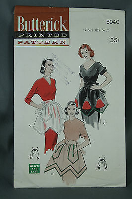 Vtg 40s Butterick Apron Pattern 5940 One Size Pre Cut Quick and Easy