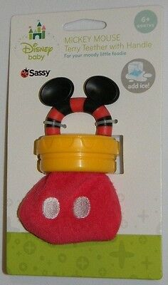 New Disney Baby Sassy Red Mickey Mouse Terry Handle Chew Teether