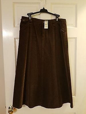 """Womens Size 8 Eddie Bauer Brown Corduroy 33"""" Long Skirt New With Tag!"""
