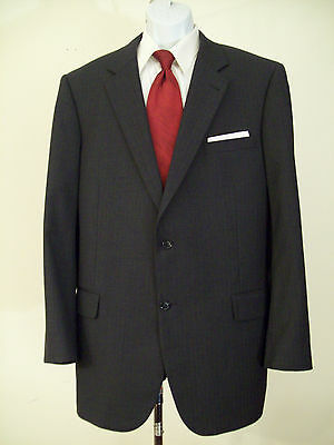 JOS.A.BANK Signature Collection gray striped 100% wool suit 46L NICE!