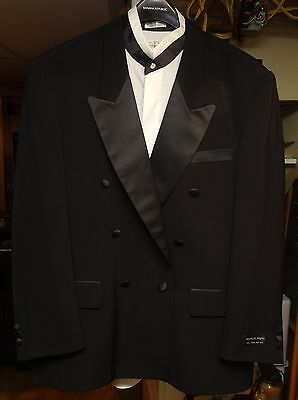Men's Double Breasted Tuxedo Suit Wedding Formal 44R 38W Satin Lapel XL shirt