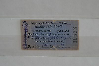 NSW Railway Ticket Reserved Seat Toowong QLD